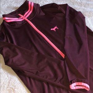 Half zip sports material pink jacket